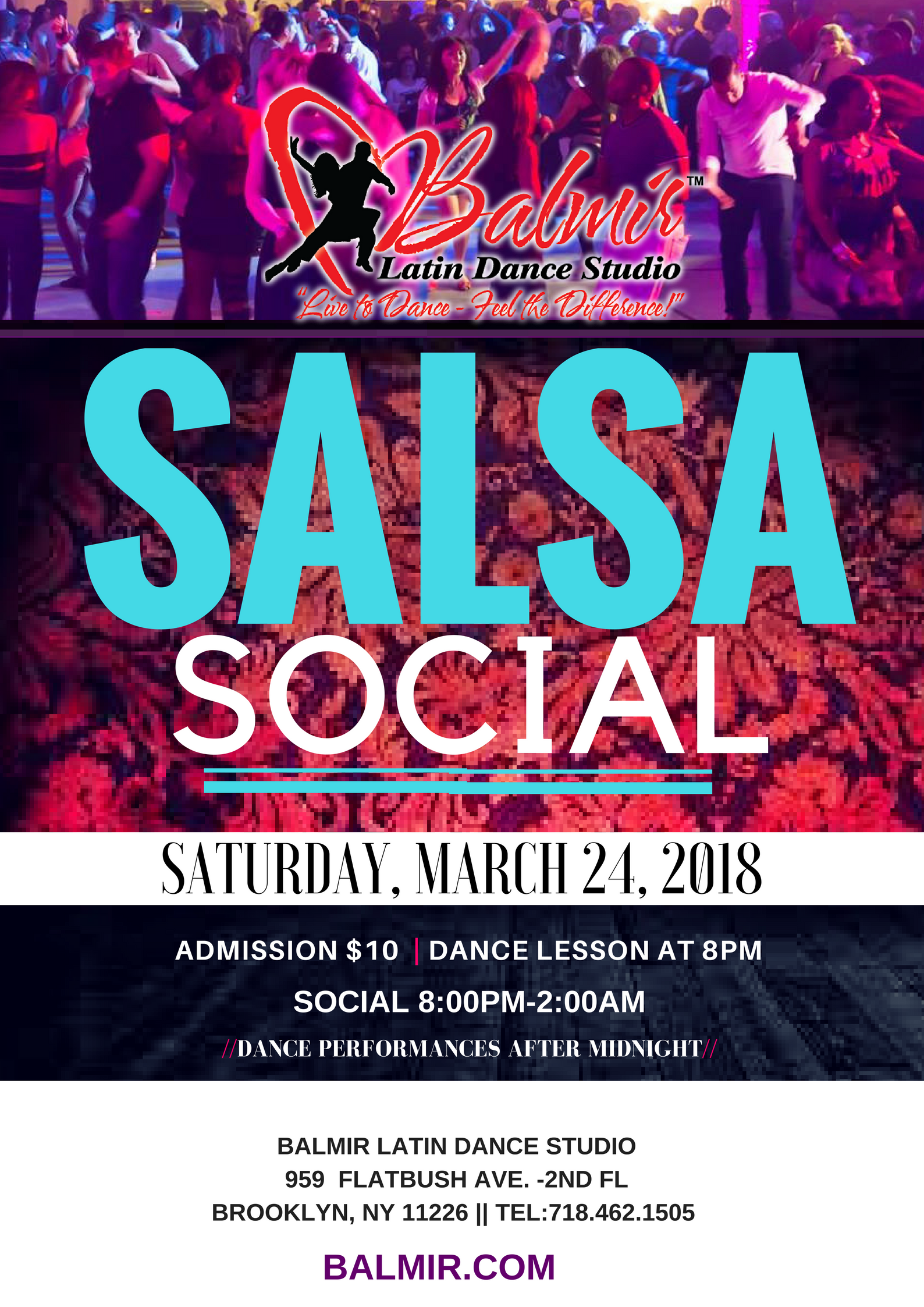 Salsa Social Dance Party at Balmir Latin Dance Studio in Brooklyn NY Saturday March 24, 2018
