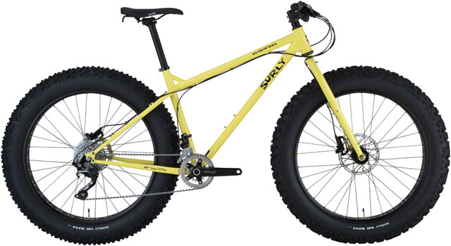 """Surly Ice Cream Truck   The Ice Cream Truck boasts a symmetric 190mm-spaced cro-moly frame, suspension-corrected 150mm-spaced fork, and sporty trail-oriented geometry. Supported by massive 4.8"""" tires, it's ready to deftly tackle nearly any terrain."""