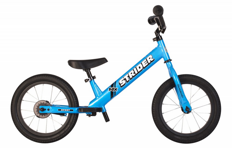 Strider 14x   As two bikes in one, the 14x sets a new standard as the best first pedal bike for children 3-7. Quickly attach the included Easy Ride Pedal Kit and watch your child seamlessly transition to riding a pedal bike and accomplish this life-changing milestone!