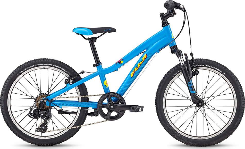 """Fuji Dynamite 20"""" Boys   Designed for young boys and girls looking to start exploring trails, parks and dirt lots and for parents introducing their children to the world of mountain biking, the Dynamite is the gateway bike. The Dynamite is a """"real bike"""" that can grow with kids as they fall in love with riding."""