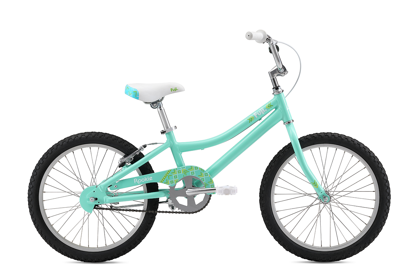 """Fuji Rookie 20"""" Girls   The all-new lightweight and durable aluminum frame, easy-to-use coaster brake with additional v-brake option to help little ones adjust to hand braking and aluminum wheels with stainless steel spokes that are durable and don't rust over time make for the perfect kids bike."""