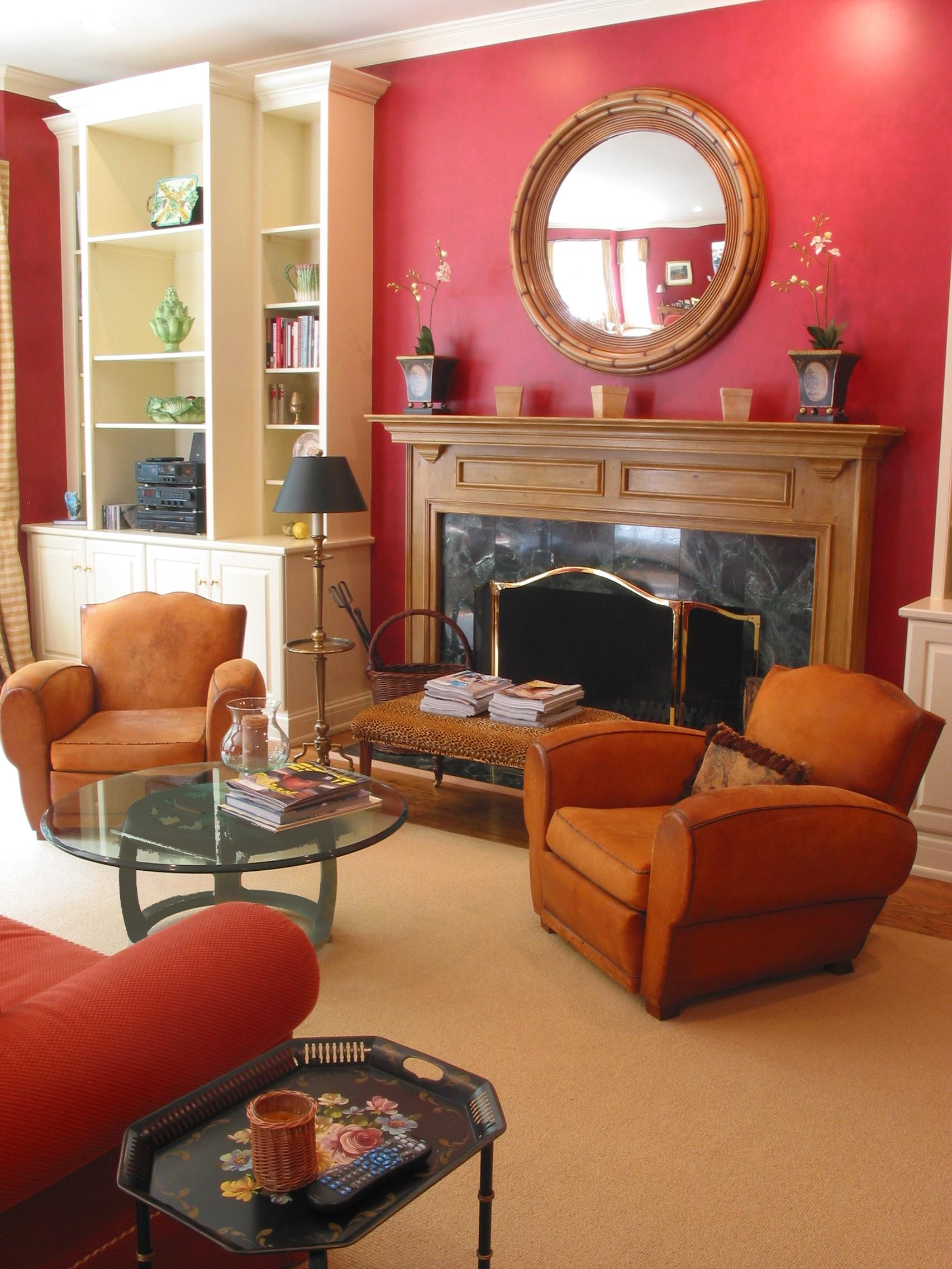 Faux bois mantel and glazed walls