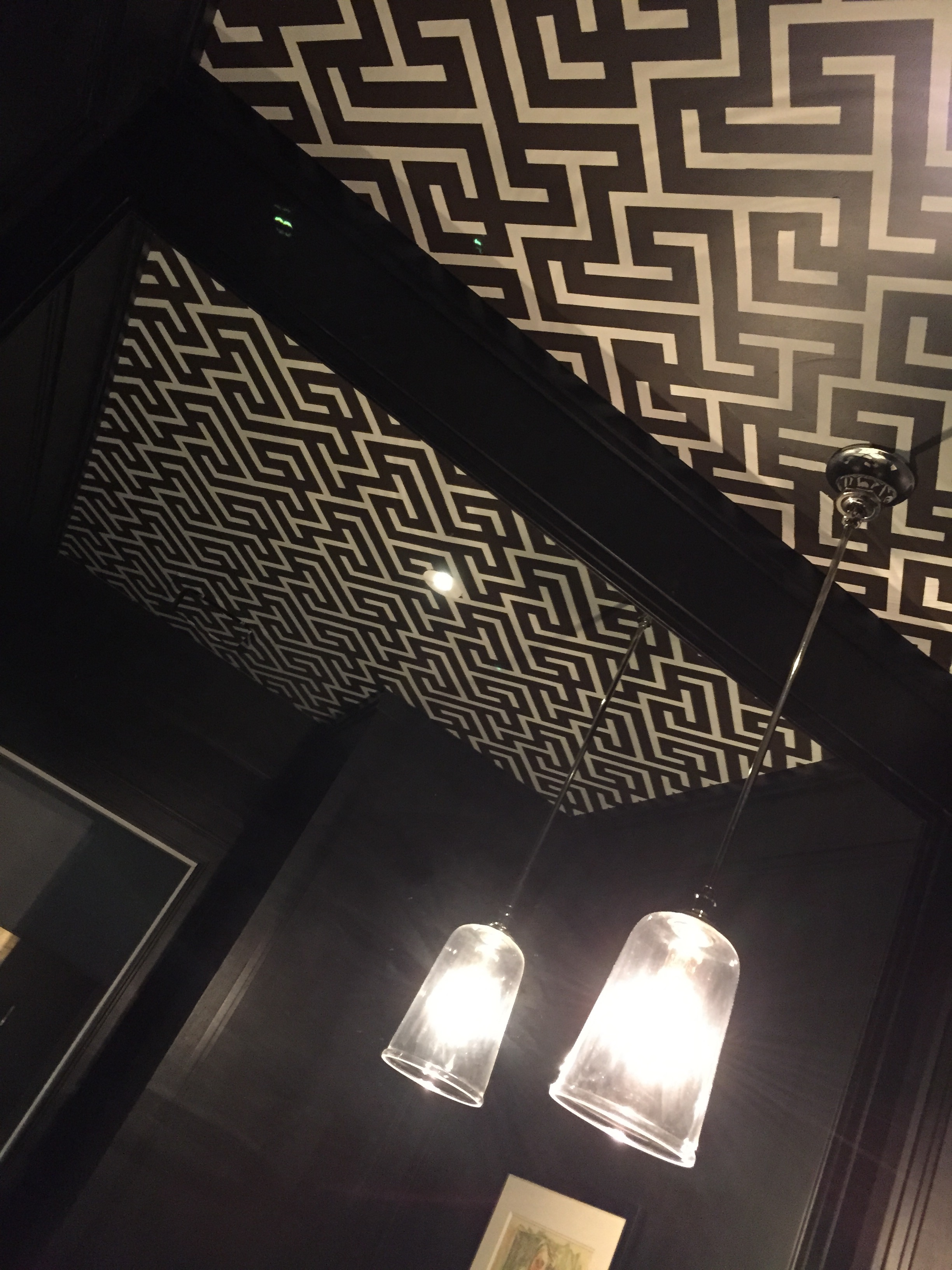 Hand stenciled ceiling
