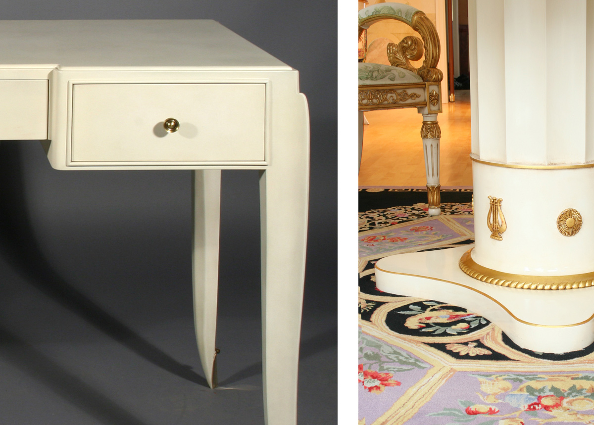 Custom finish - faux vellum and linen white lacquer with gold leaf