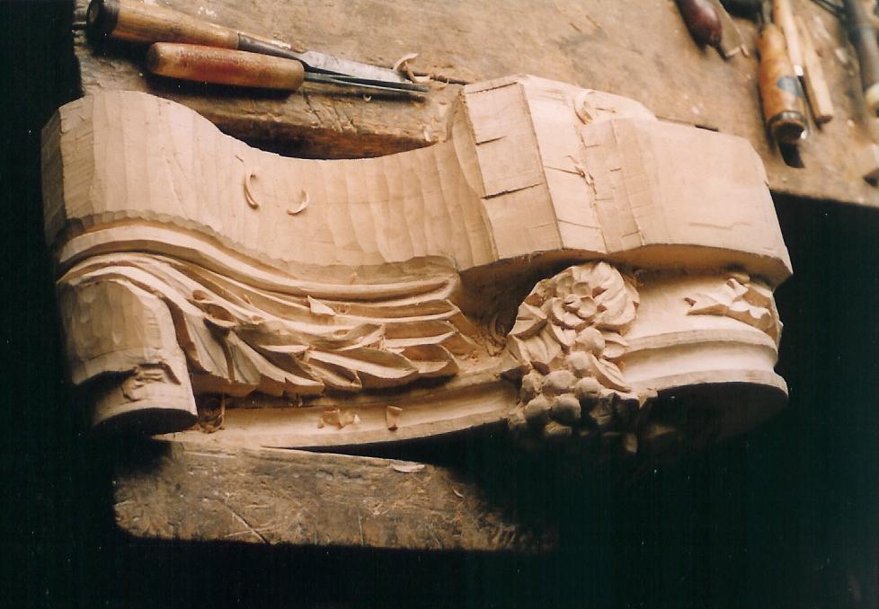 Mantle bracket during carving