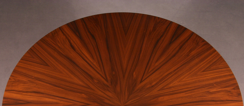 Table top with Santos Rosewood veneer starburst pattern