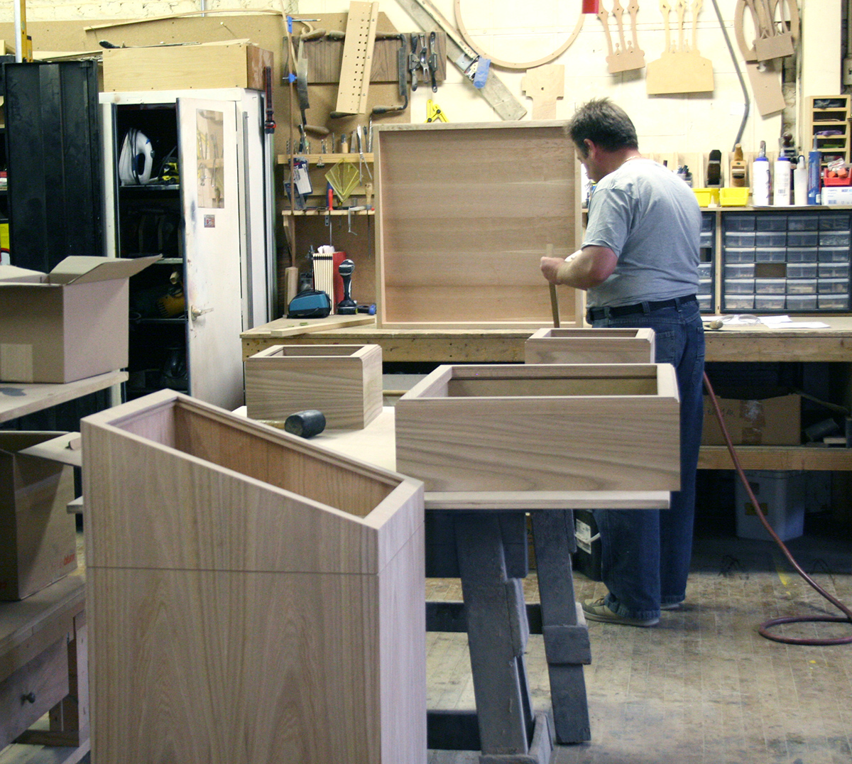 Mother Cabrini objects display cases during fabrication