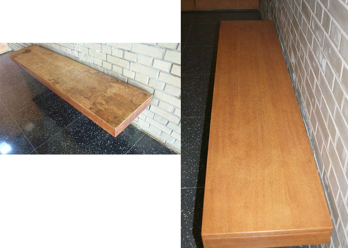 Bench before and after treatment