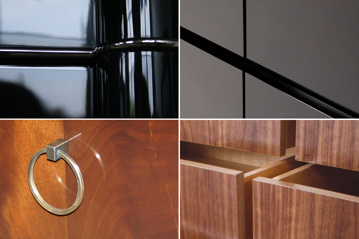 From upper left: high gloss black piano, espresso, high gloss lacquer, clear satin