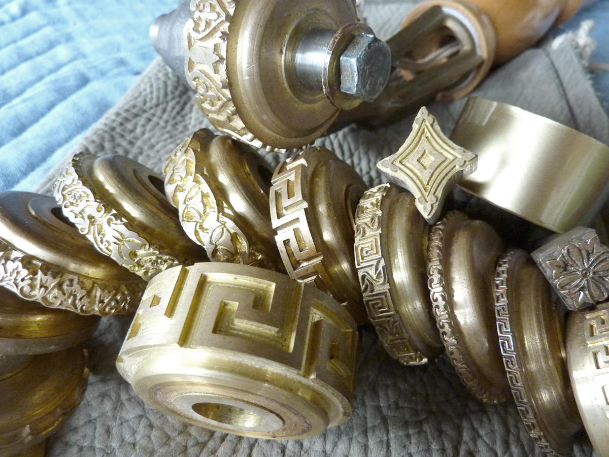 We provide the borders, tooling patterns and materials to include actual gold and silver leaf, and various composition metals.