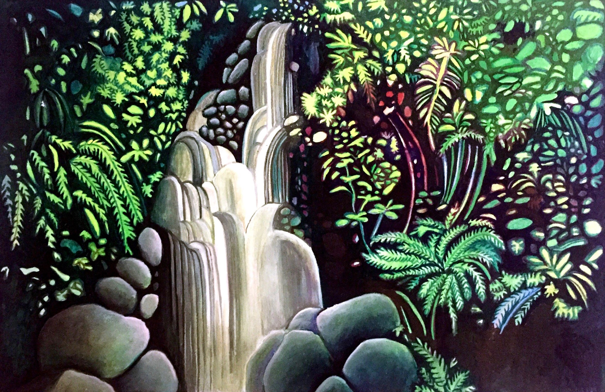 Waterfall 2019. Gouache on paper
