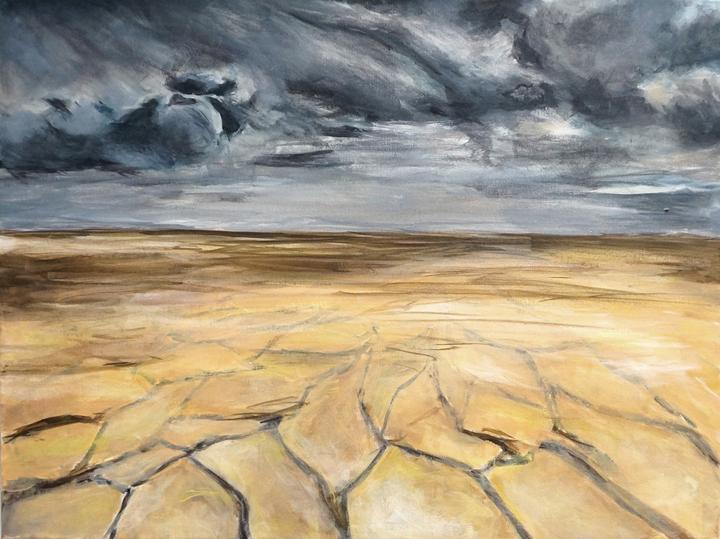 Cracked drought rain landscape painting Kaitlin Merchant Davison kdmerchant.jpg