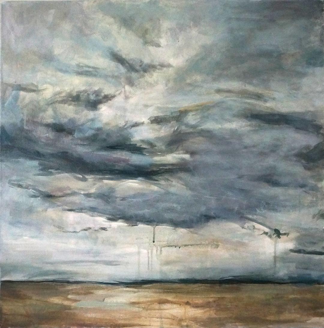Texas Tears IV -drippy landscape painting skyscape rain Kaitlin Merchant Davison kdmerchant.jpg