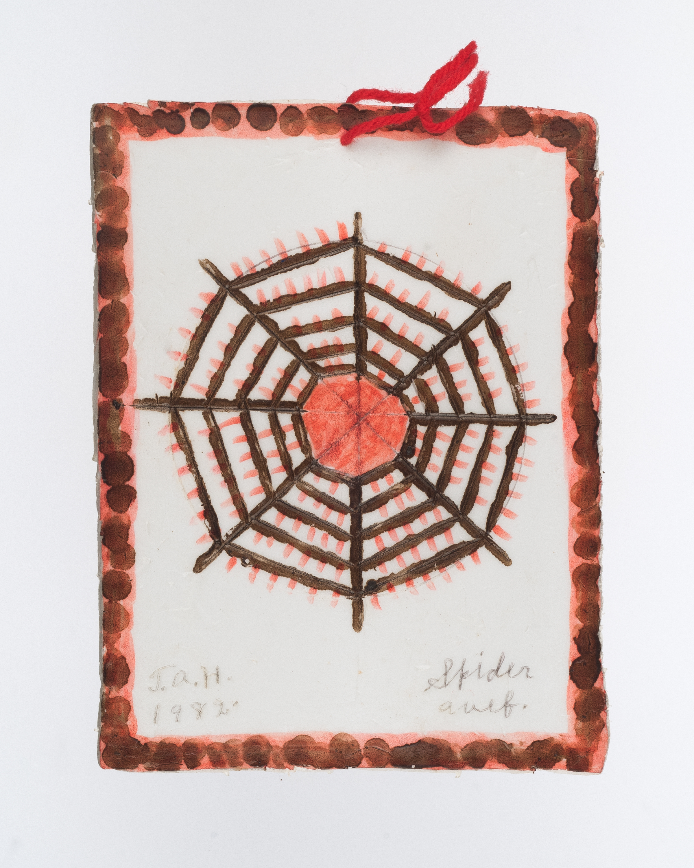 T.A. Hay,  Spider Web , 1982. 7 inches (h) x 5 inches (w), red marker and yarn with brown shoe polish on styrofoam tray, signed lower left.