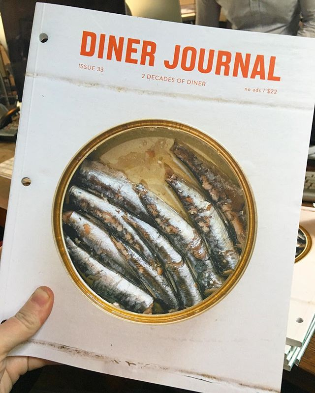 Sardine can in hand! Diner Journal 33 has finally arrived. 😌Save the date December 18 release party @marlowandsons!! #outtakesnevergetold #twodecadesofDINER Photos by @juliagillard77