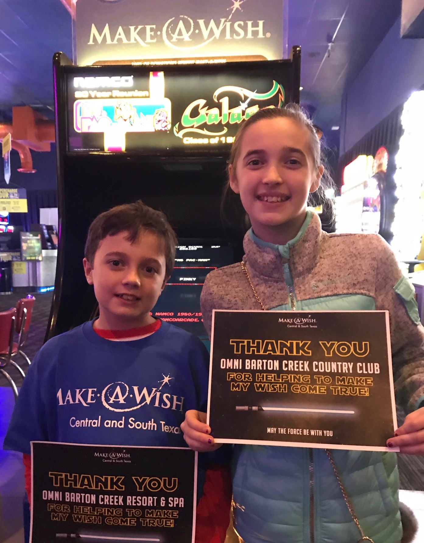 Graham and his sister celebrate his selection as Make-A-Wish beneficiary of Disney World Trip…