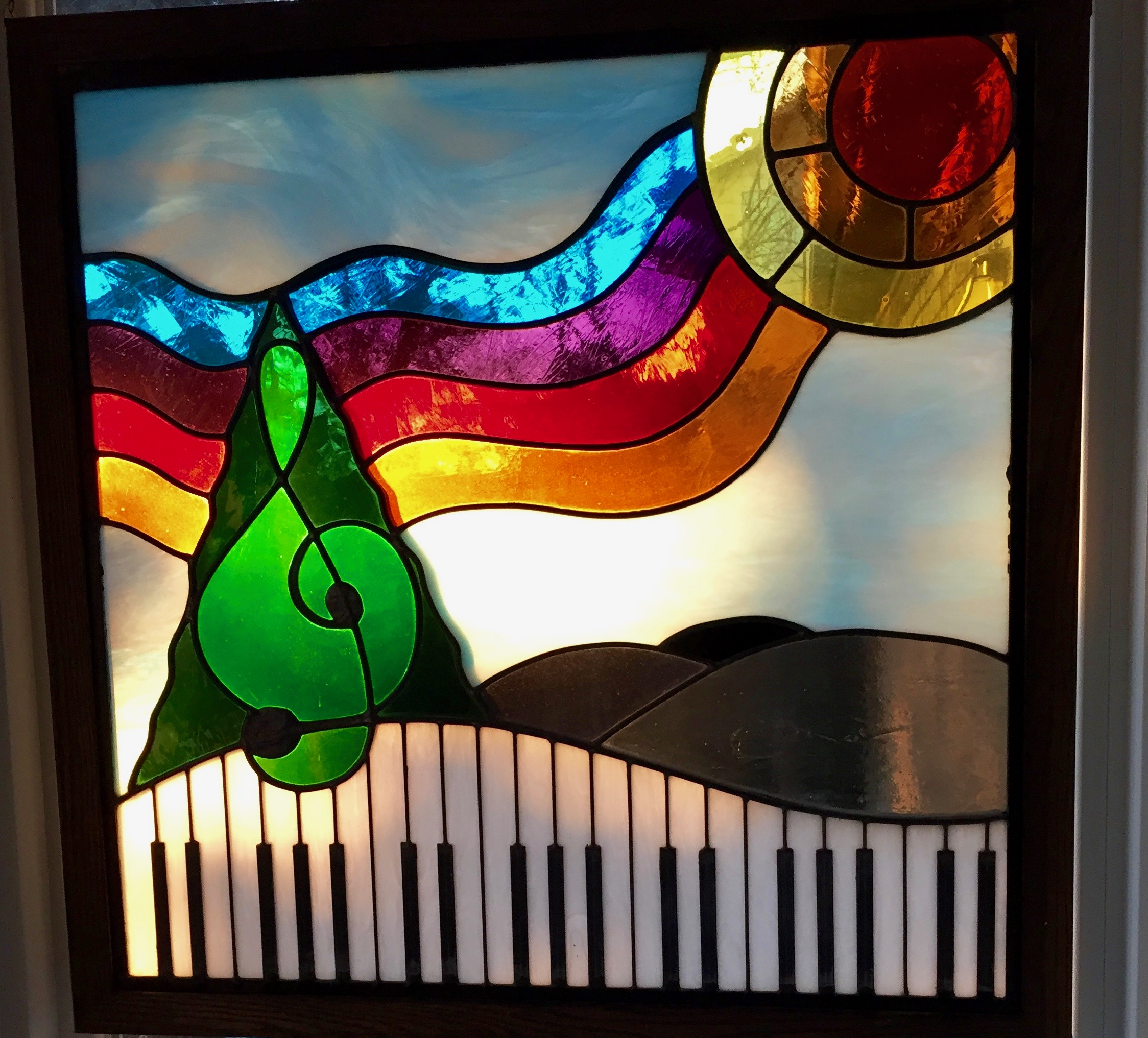 Stained Glass Panel in my Studio…by noted artist and friend Susan Stinsmuehlen-Amend