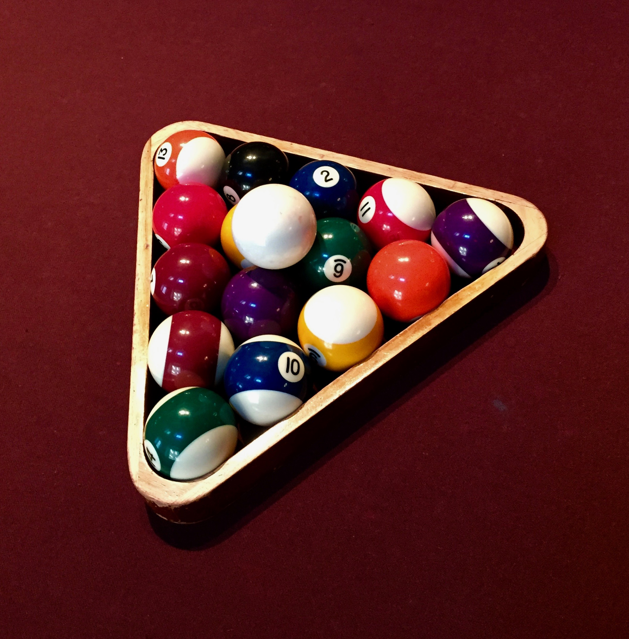 This Pool Ball Rack Caught My Attention Against This Uniquely Colored Table…