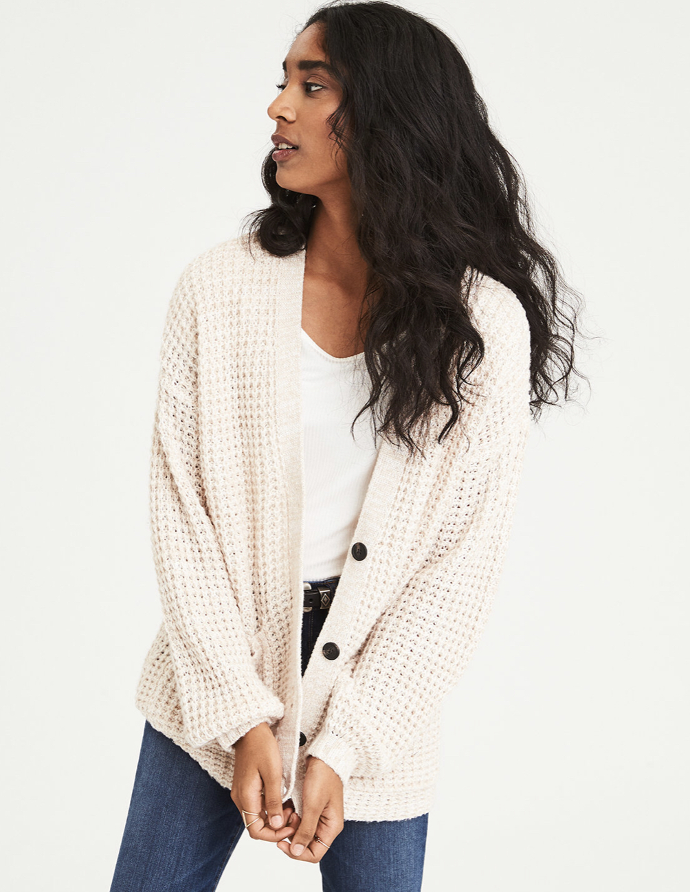 Who doesn't love a good cardigan? - Over $100 at Madewell, AE dupe around $35!