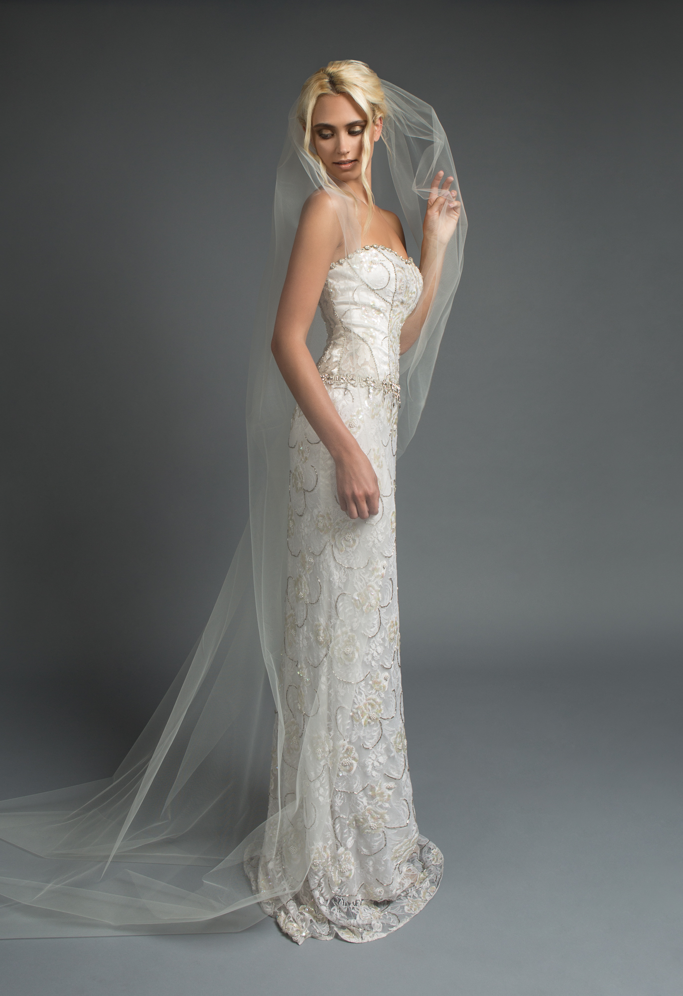 The Elyse gown from Victoria Spector Bridal Couture and the Deja Veil from Kata Banko Couture