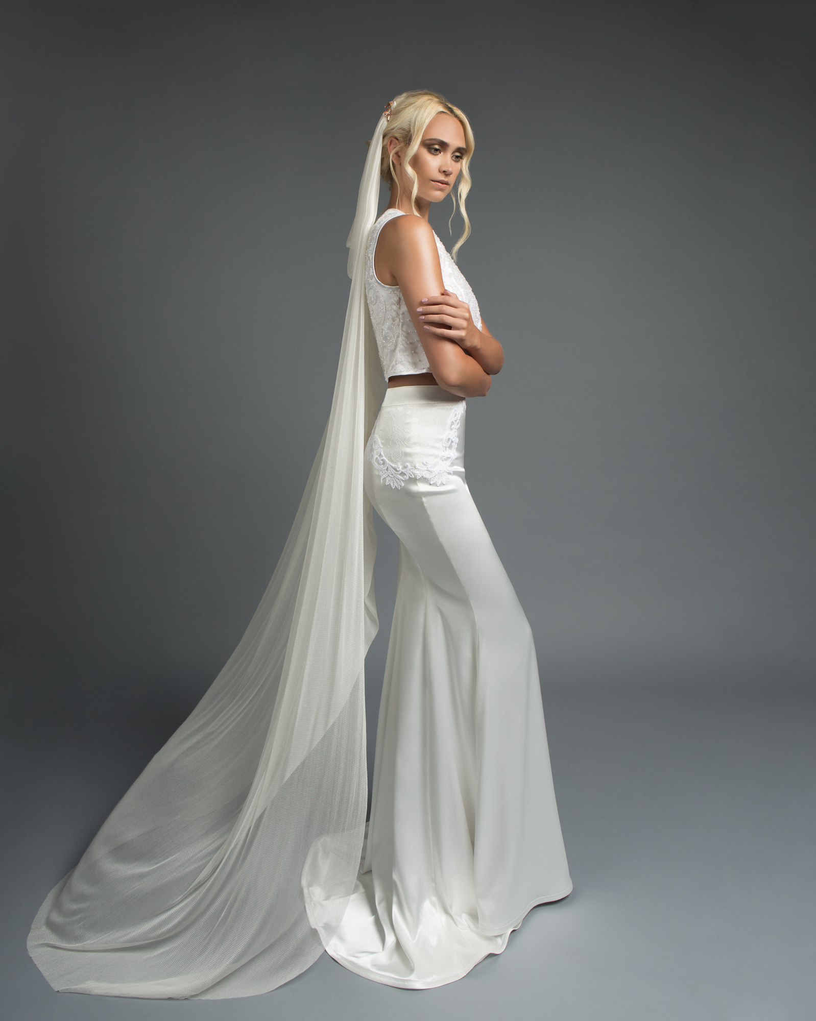 The Madison Gown from Victoria Spector Bridal Couture and Zoe Veil from Kata Banko Couture