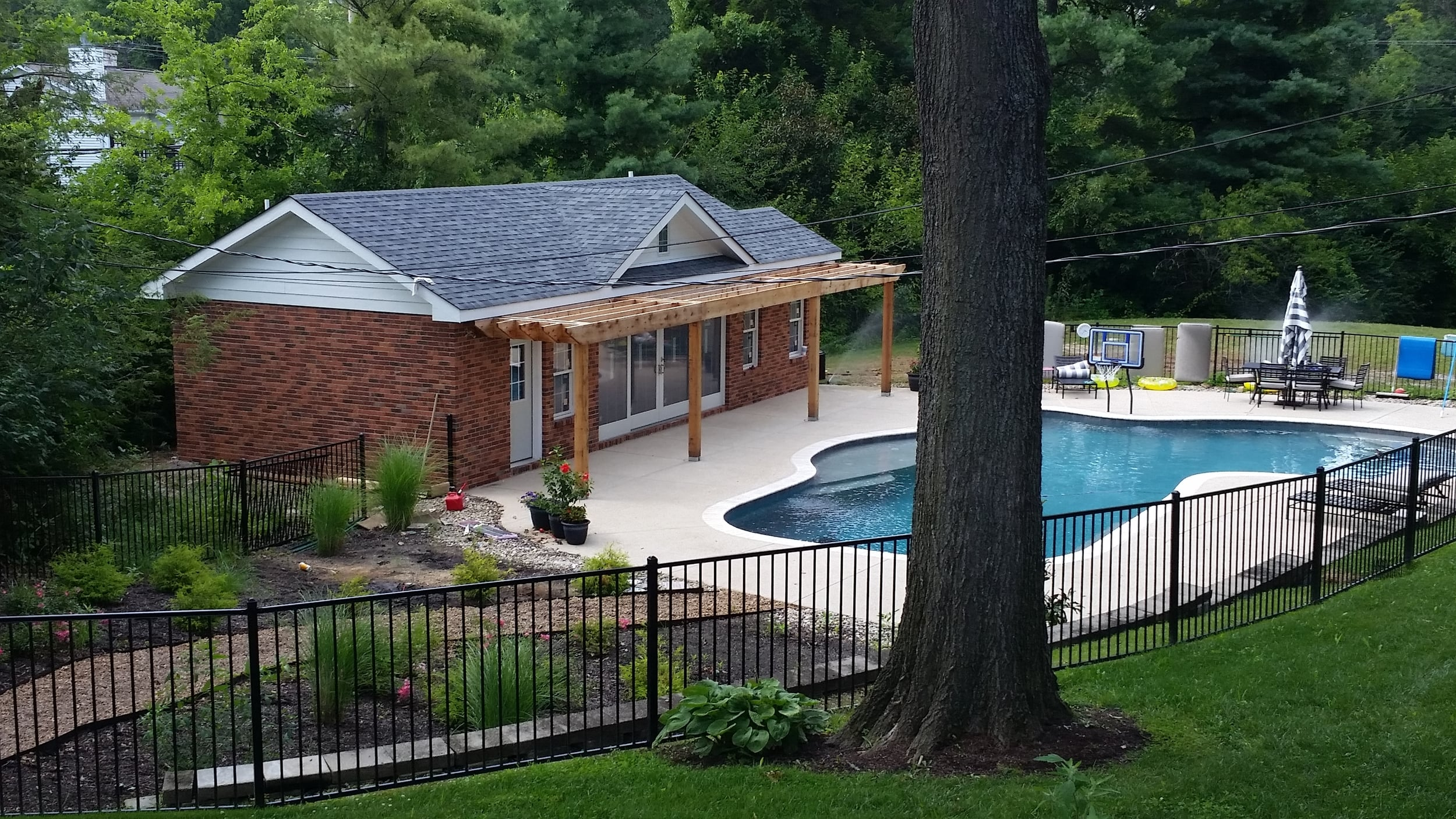 New pool house built from the ground up.