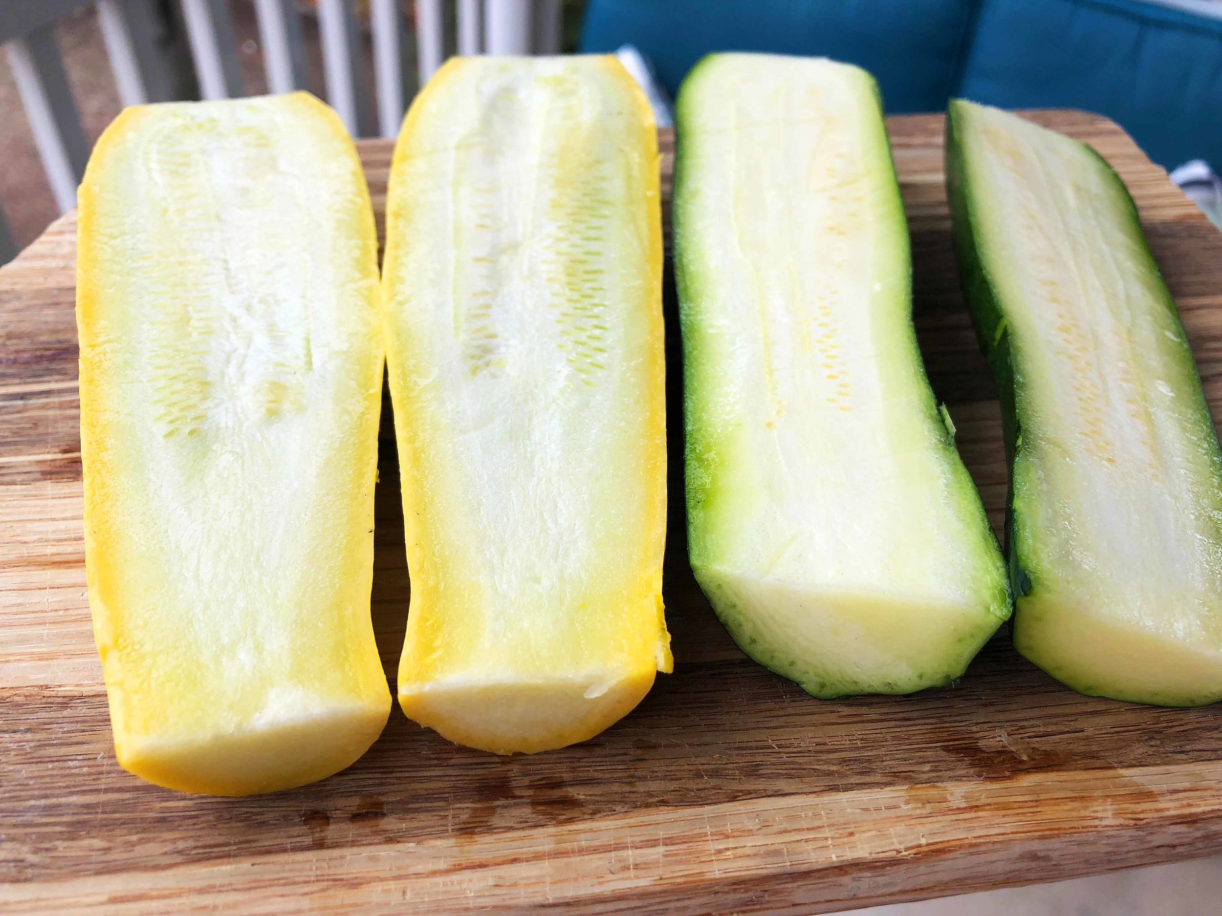 I handled the squash and zucchini similar to the corn. Rub down with oil, salt and pepper and roast in the oven for about 30-40 minutes. Flipping half way through.