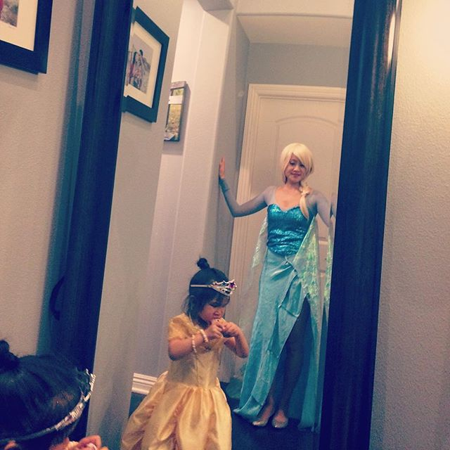 Belle et Elsa. Post-trick or treating. Belle's mama made her dress! Tale As Old as Time meets Let It Go. #handmade #halloween #elsa #belle #princessphase #lovethesekiddos