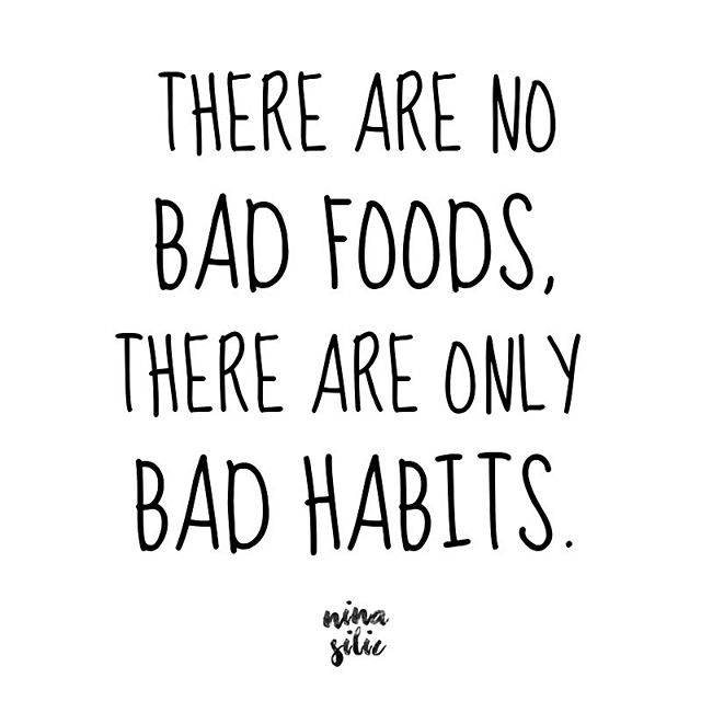 "Good vs Bad 🤷🏼‍♀️⠀ ⠀ Ok you guys! Many of you have been asking to learn more about macros/flexible dieting. ⠀ ⠀ I think firstly it's important to identify there really are no BAD foods! But rather bad habits. ⠀ ⠀ Before you argue with me on this let me ask you ... what constitutes a food to be good and what constitutes a food to be bad? ⠀ ⠀ Yes it's true that even though calories are calories.. not all food is created equal when talking about what it contains.. eg vitanins, minerals, fibre. ⠀ ⠀ But the point here is food should not be labelled as good or bad but rather we need to look at the overall picture of food consumption and your daily habits.... ⠀ ⠀ If I eat a tub of ice cream and a pack of Oreos a day and don't consume hardly any whole foods, yes this will most likely have some health implications over time. ⠀ ⠀ If I chose to eat nothing but chicken .. chicken is deemed a ""good food"" but this is is not a healthy approach either. You can still OVEREAT ""good"" foods. ⠀ ⠀ ""Fun foods"" (my definition of foods that are not wholefoods) get such a bad wrap. But really it's YOUR habits that deem whether any particular food is good or bad for you. ⠀ ⠀ You CAN eat foods you love and stay perfectly healthy. Focusing on your habits and consuming whole foods to get your micronutrients in, stay hydrated, exercise and get moving. Then add in the foods that set your soul on fire! ⠀ ⠀ It's absolutely OK to eat ice cream and chocolate every single day (permitted you don't have allergies or intolerances). Just make sure you keep your overall habits in check and get some whole foods in too! 😉⠀ ⠀ Your mental health and your taste buds will thank you for it!⠀ ⠀ Remember too much of anything is not healthy. So keep it balanced 🙌🏻⠀ ⠀ ⠀"