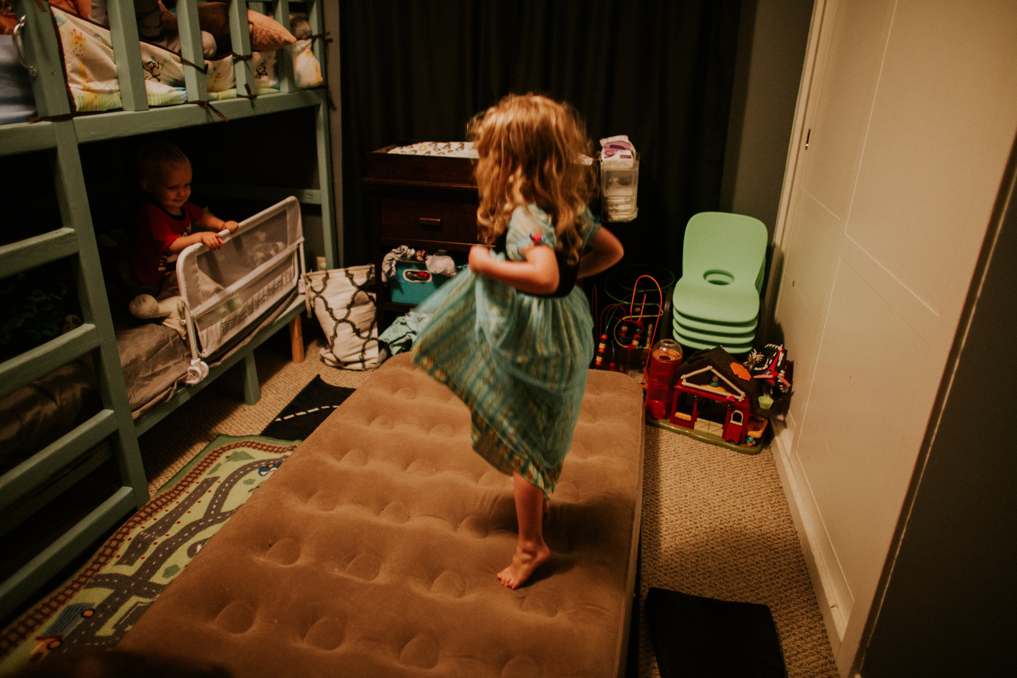 Zoe slept on a blow up in their boys' room. All four kids slept in one room! Anthem + Durham Stutzman and Zoe + Cohen Wakefield! Sweet children talked themselves to sleep each night.