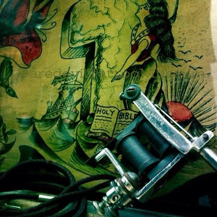 """Tattoo machine stamped """"MADE BY PROF CHAS WAGNER NEW YORK CITY"""" Rock of Ages attributed to Dominique Chance. This sheet was published in the Ed Hardy Rocks of Ages book."""