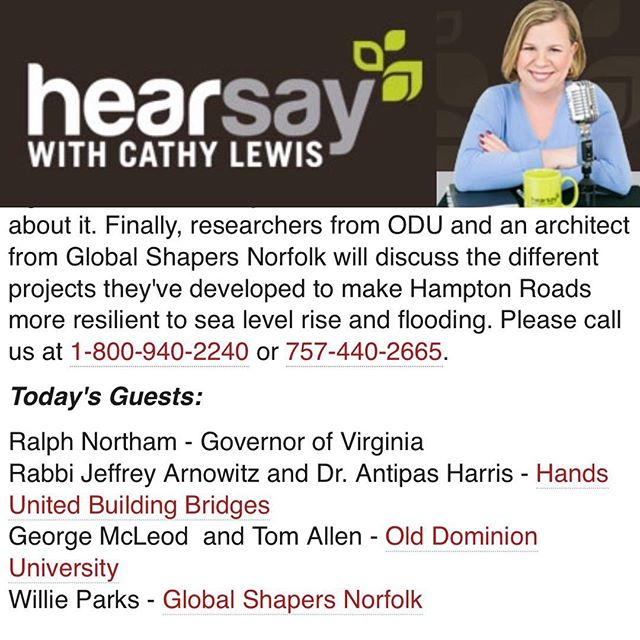 We are so honored and excited that our very own Willie Parks (@mr_parkssss) will be featured on Hearsay with @cathylewistalks this afternoon! Tune in from 12:00 to 1:00 to hear about our exciting Amphibious House project. Link in bio. Thank you to @whro and Cathy Lewis for the opportunity! #resilience #resiliency #environment #sealevelrise #architecture #globalshapers #globalshaperscommunity