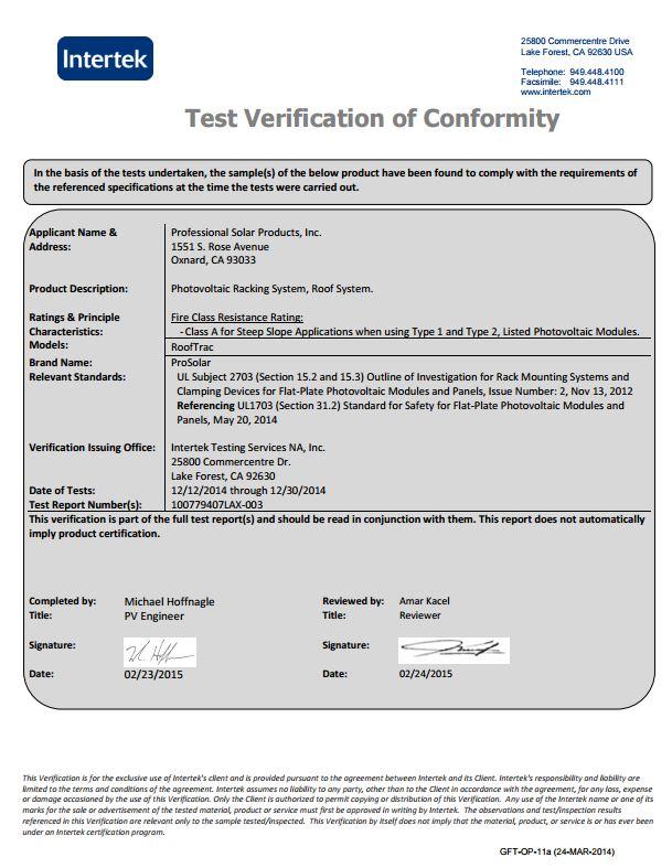 ProSolar SOlar Racking System RoofTrac UL2703 Approval Intertek