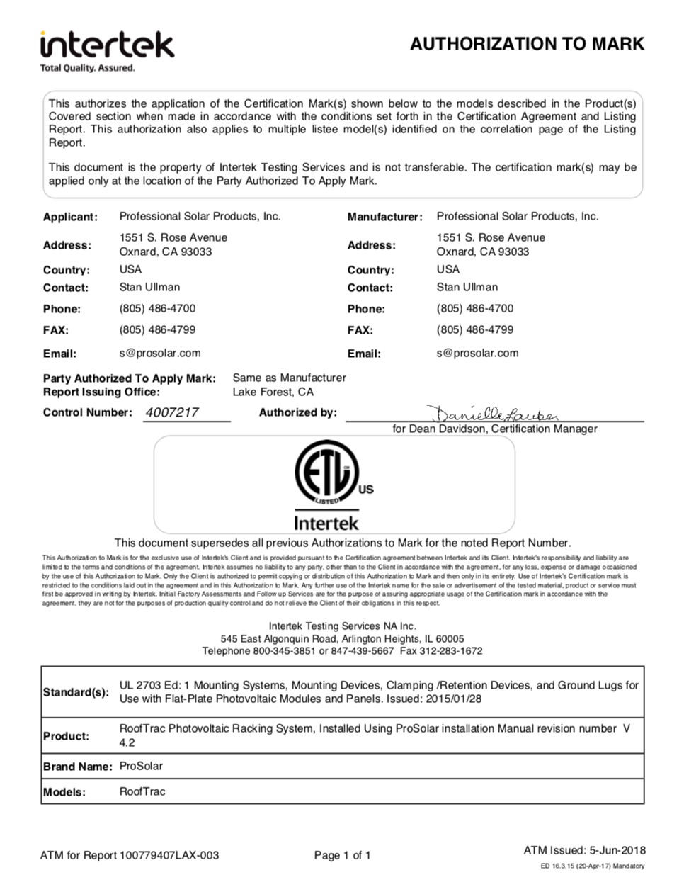 ProSOlar Solar Racking System Ul2703 Approval Intertek
