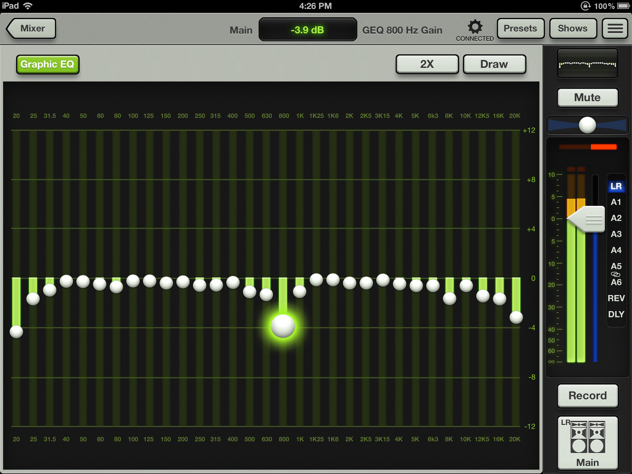 Older version screen shot of the graphic EQ