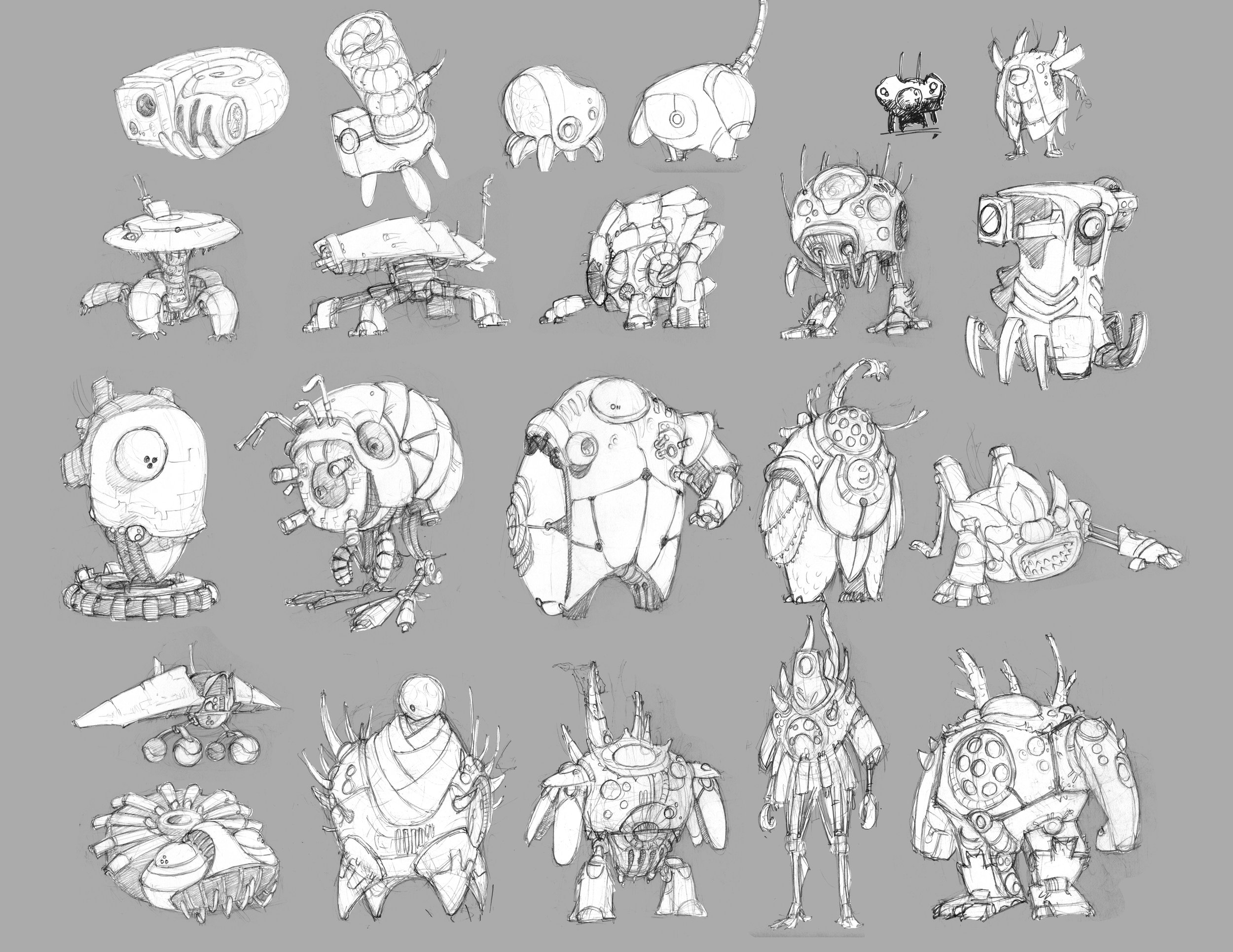 Alternate design sketches for the alien mech.