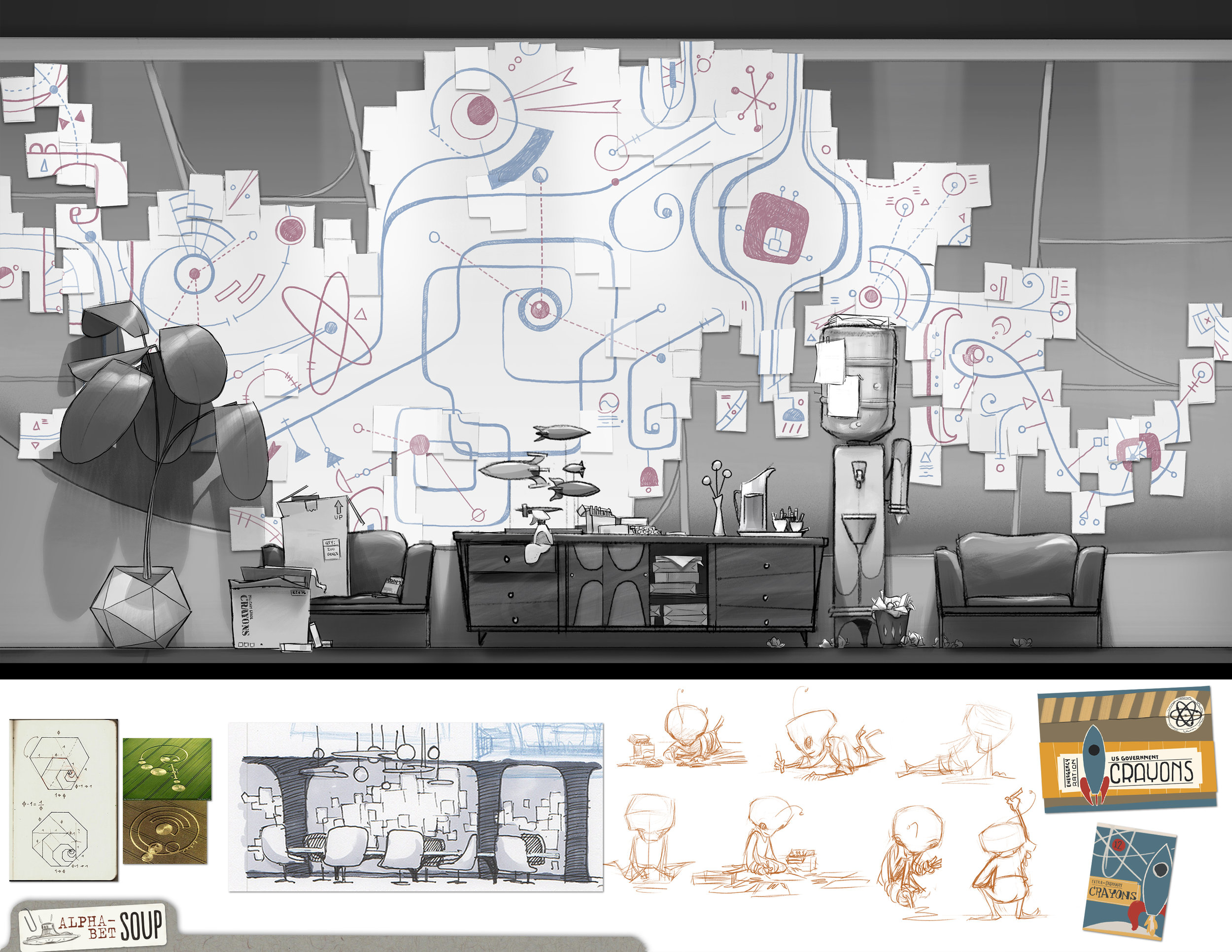 (top) A view inside the conference room at a wall covered in Harold's art.  (bottom) some reference, initial sketches of the room, sketches of Harold drawing like a child, and images of his crayon boxes.