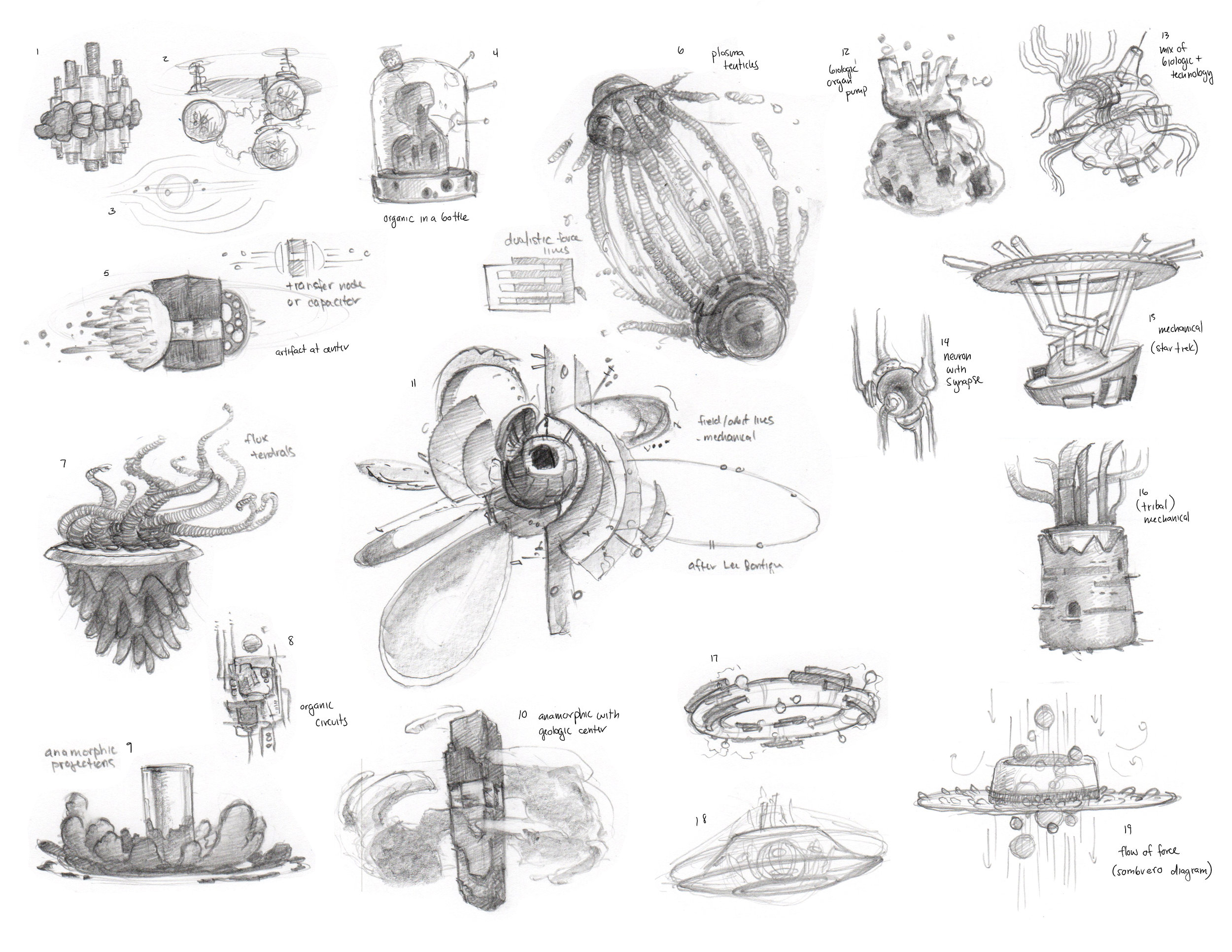 Exploring some different looks for the engine. I drew a lot on the work of modern sculptors like Lee Bontecou.