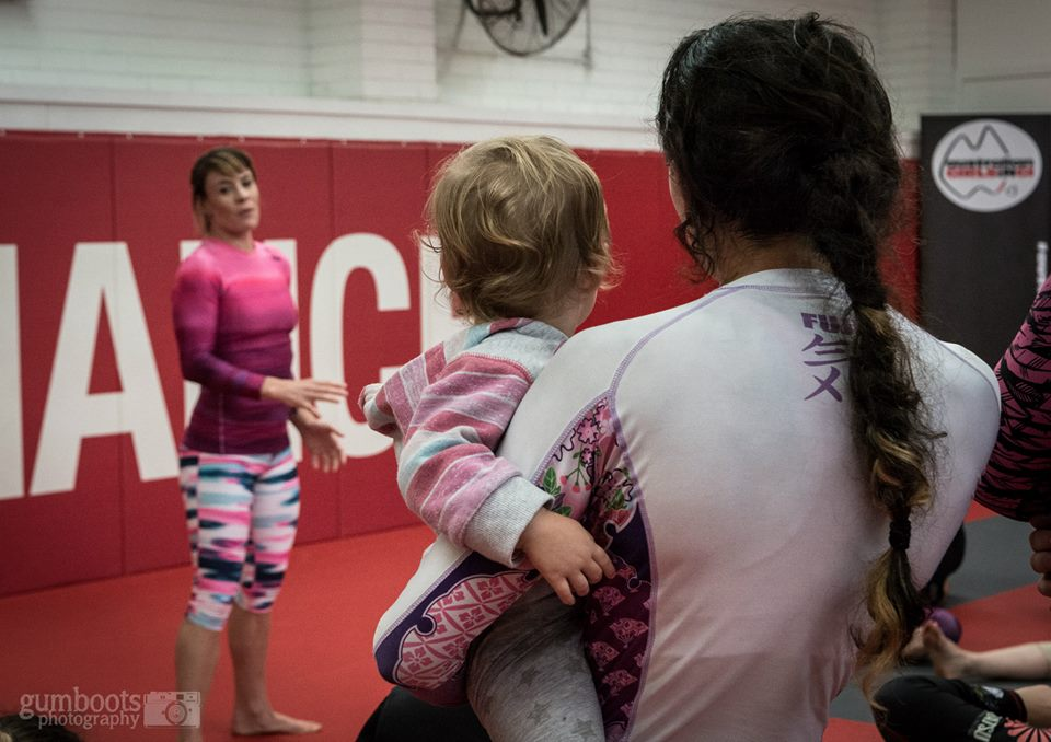 Take your baby to BJJ class. There is no reason why new mum's should stay at home.