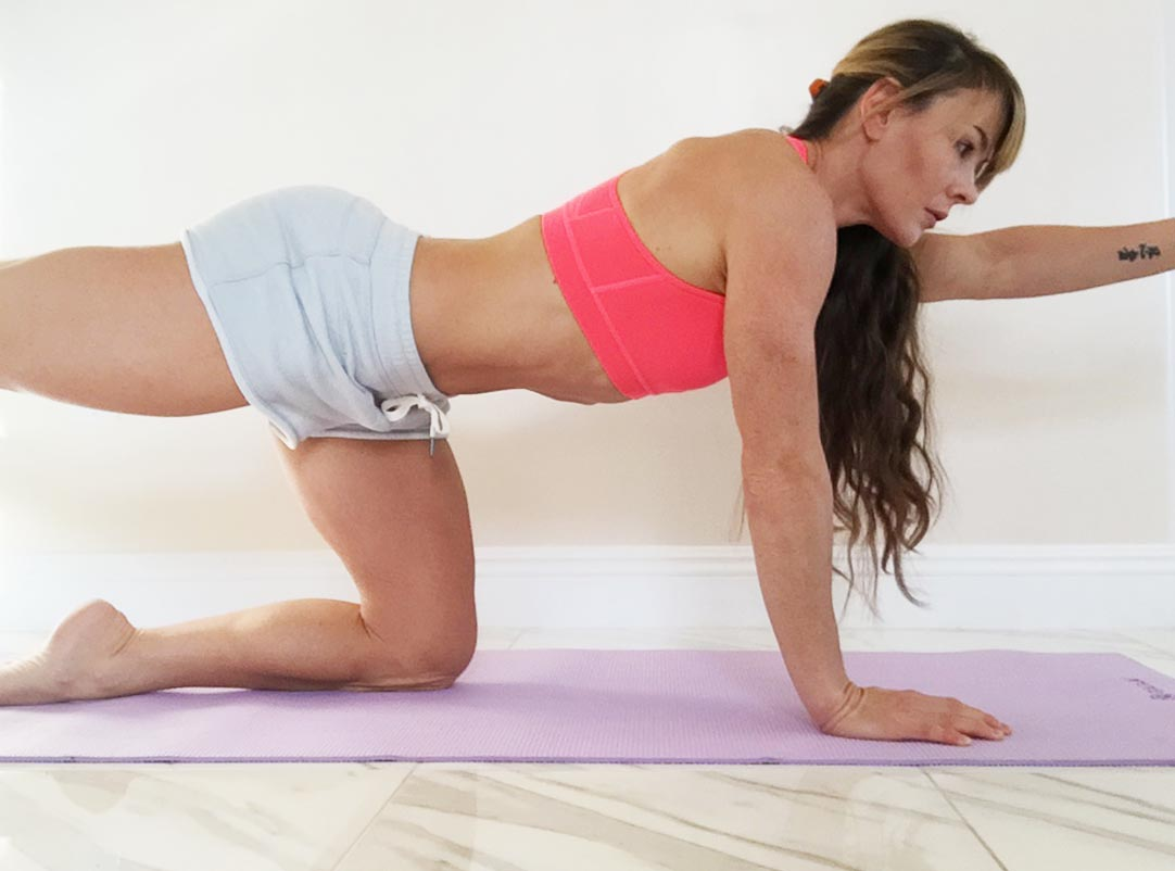 Arm and leg extensions work the core for balancing as well as the hamstrings, glutes, upper back and rear delts.