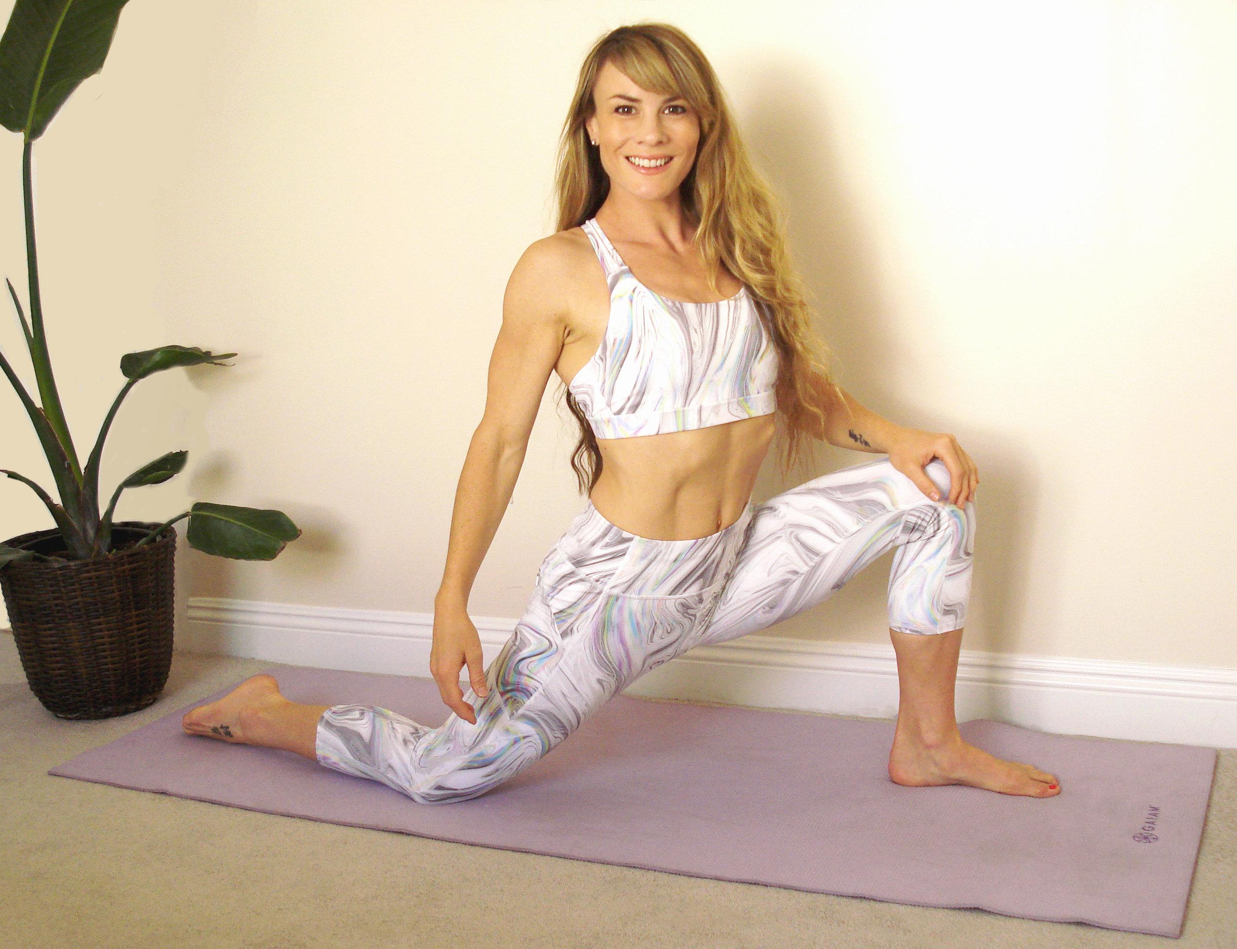 Rocking my matching set. Athleta marble leggings and sports bra.