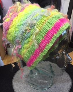Handspun yarn hat with bits of Manos del Uruguay Maxima used
