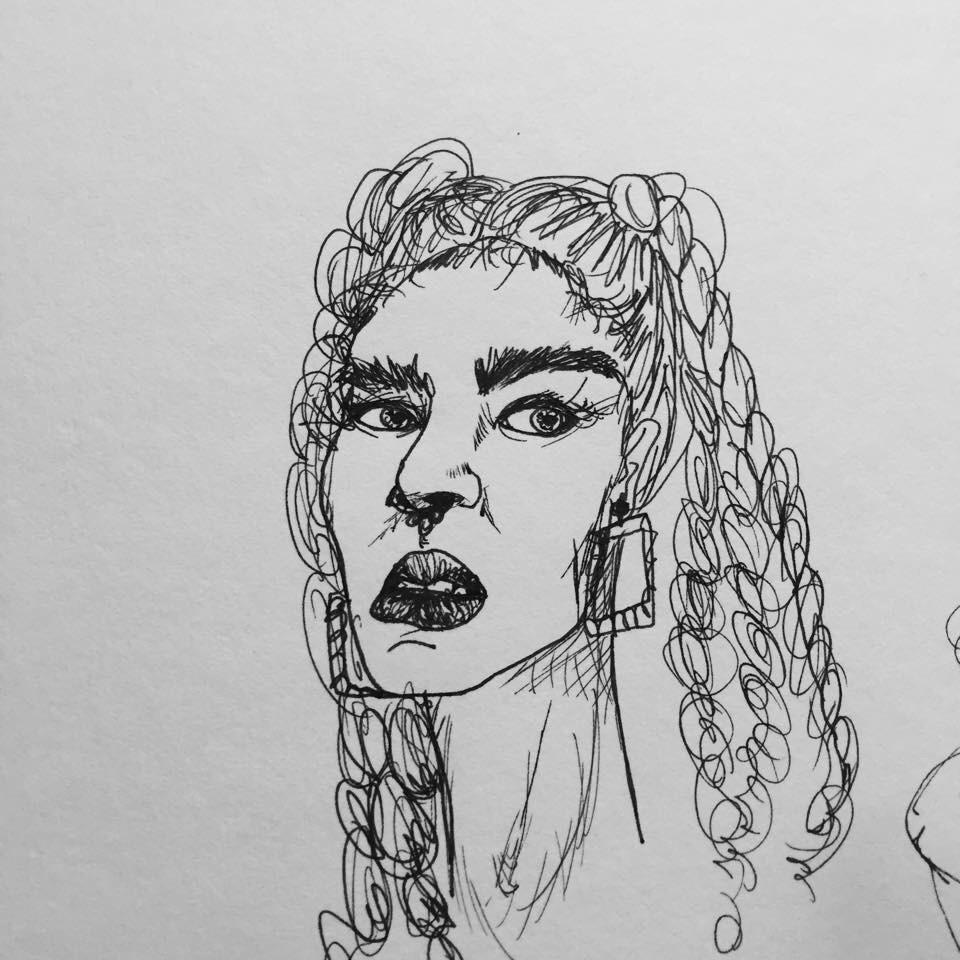 Ponytails Sketch.