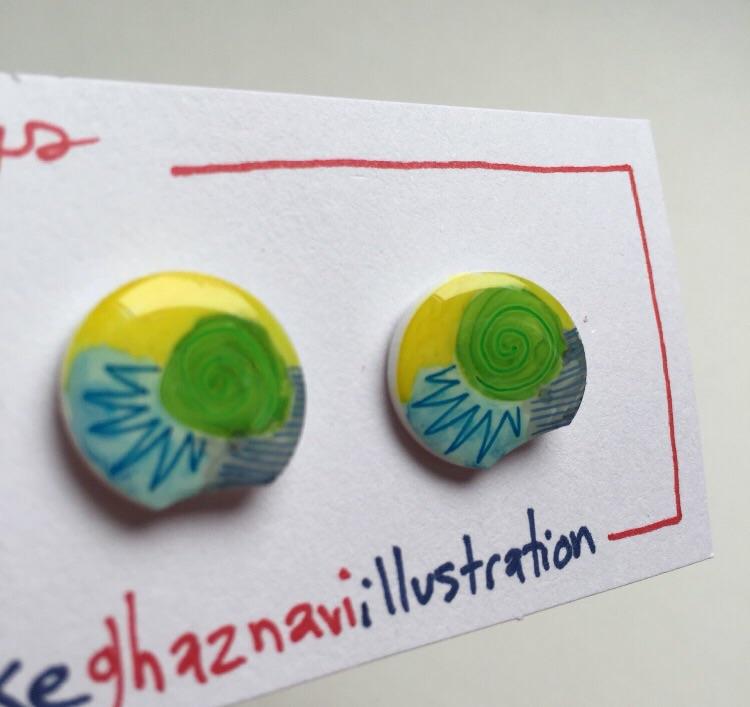 Funky little earrings.