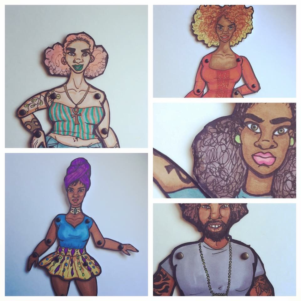 Paper dolls with marker.