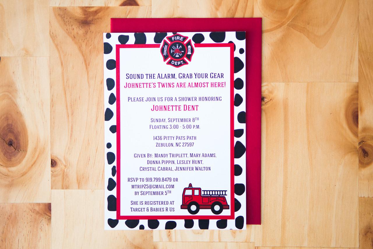 Firetruck Baby Shower Invite   Digital Download   $15