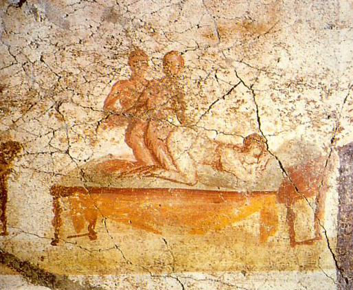 Threesome from the Suburban Baths in Pompeii, depicting a sexual scenario as described also by Catullus,  Carmen  56