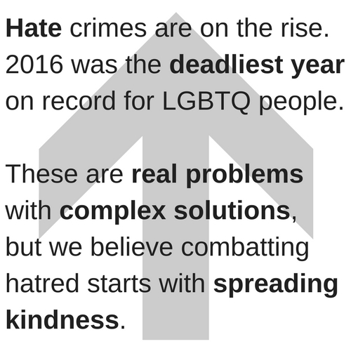 Hate crimes are on the rise, and 2016 was the deadliest year on record for LGBTQ people. These are real problems with complex solutions, but we are convinced that it starts by spreading kindness. (9).jpg