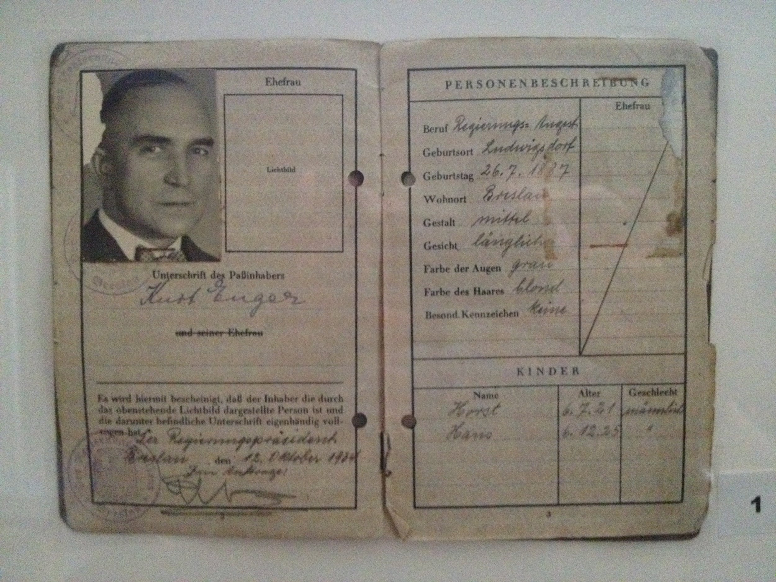 My grandfather's personal identification papers.