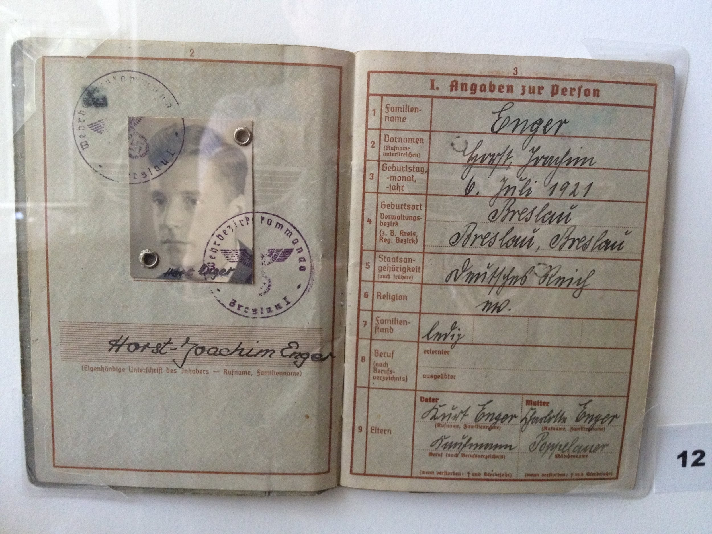 Nazi-period ID papers - the M in religion identifies him as a Mischling.